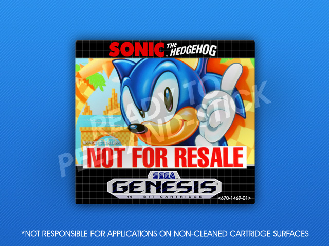 Sega Genesis Sonic The Hedgehog Not For Resale Label Retro Game Cases