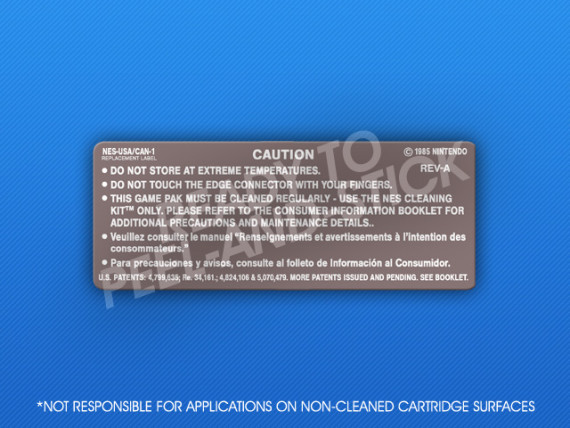 NES - Back CAN-1 Cartridge Label