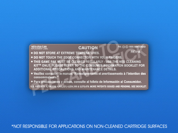 NES - Back CAN Cartridge Label