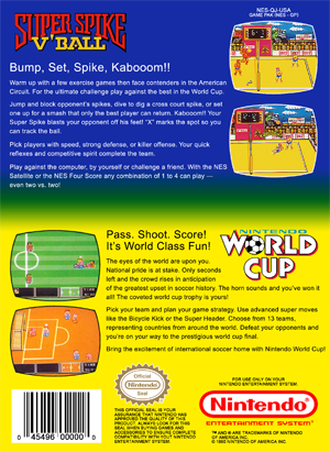 NES - Super Spike V'Ball & Nintendo World Cup (back)